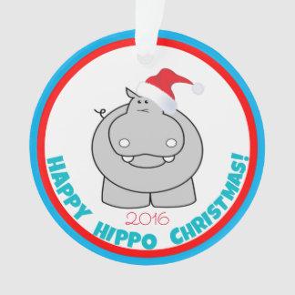 Ornamento Natal feliz do hipopótamo: Lembrança adorável do