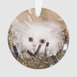 Ornamento Natal persa branco do gatinho