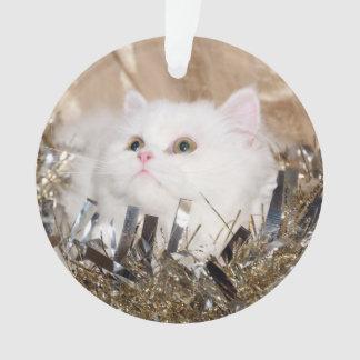 Ornamento Natal persa branco do gato do gatinho