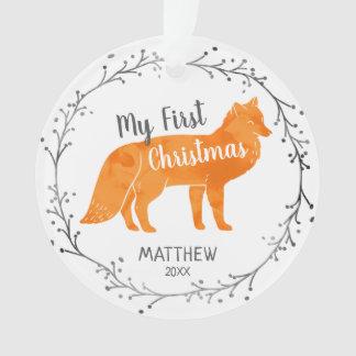 Ornamento Natal personalizado do bebê do Fox da aguarela
