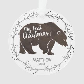 Ornamento Natal personalizado do bebê do urso da aguarela
