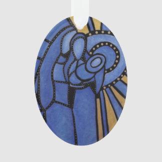 Ornamento Natal santamente azul moderno da família