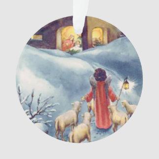 Ornamento Natividade do pastor do anjo do natal vintage