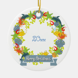 Ornamento náutico da grinalda do Natal do tema -