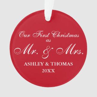 Ornamento Nosso primeiro Natal como o Sr. e a Sra. Vermelho