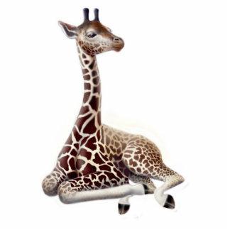 Ornamento novo do feriado do girafa fotoescultura