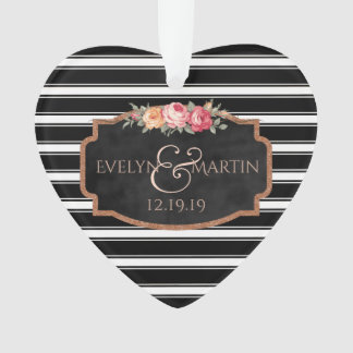 Ornamento O preto listra o coração da lembrança do casamento