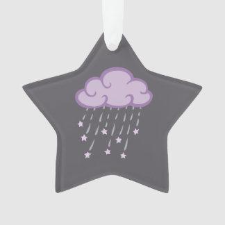 Ornamento O roxo ondula a nuvem de chuva com estrelas de