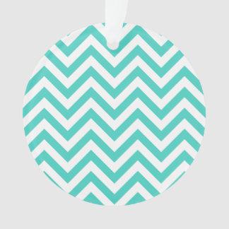 Ornamento O ziguezague azul e branco da cerceta listra o