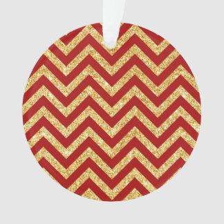 Ornamento O ziguezague vermelho do brilho do ouro listra o
