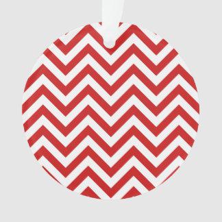 Ornamento O ziguezague vermelho e branco listra o teste