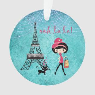 Ornamento Oh menina e gato personalizados de Paris do La do