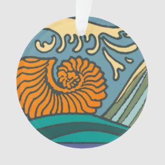 Ornamento Ondas de oceano azuis brilhantes