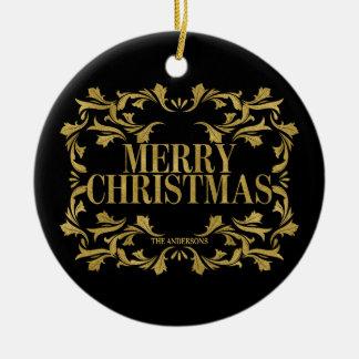 Ornamento ornamentado elegante do Feliz Natal do
