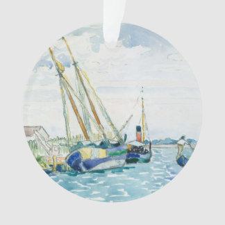 Ornamento Os barcos marinhos da cena aproximam Veneza