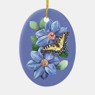 Ornamento oval cerâmico da borboleta da aguarela