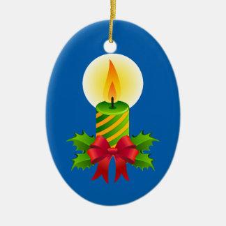 Ornamento oval cerâmico da vela bonito do Natal