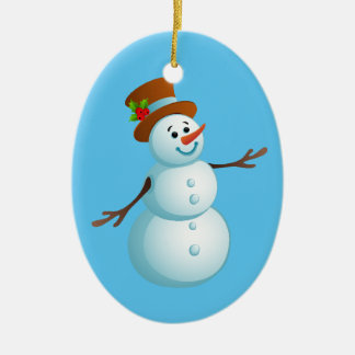 Ornamento oval cerâmico do boneco de neve bonito