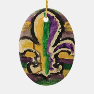 Ornamento oval com flor de lis do carnaval