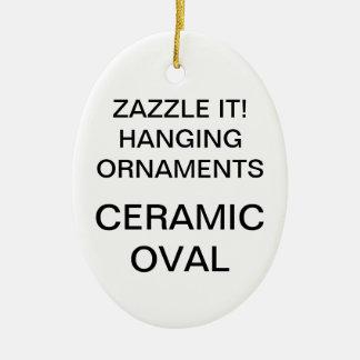 Ornamento oval da árvore de Natal da porcelana