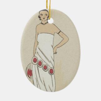 Ornamento oval da árvore de Natal do ponto