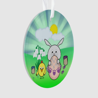 Ornamento Ovo da páscoa bonito da coloração do coelhinho da