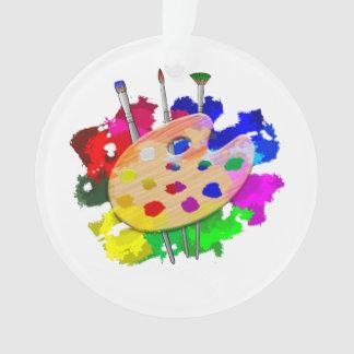 Ornamento Paleta e escovas do artista