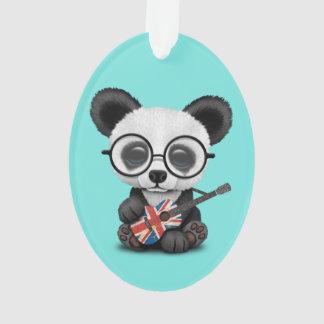 Ornamento Panda do bebê que joga a guitarra britânica da