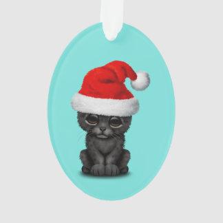 Ornamento Pantera preta bonito Cub que veste um chapéu do