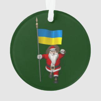 Ornamento Papai Noel com a bandeira da Ucrânia