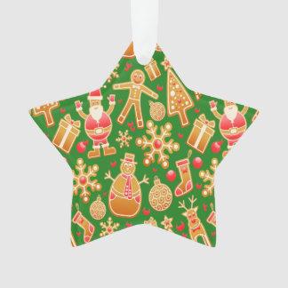Ornamento Papai noel e pão-de-espécie festivos do boneco de