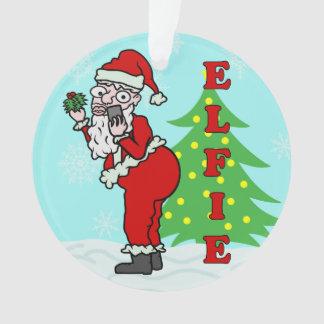 Ornamento Papai noel engraçado Elfie do Natal