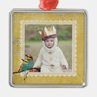 Ornamento pequeno da foto do ouro de dois pássaros