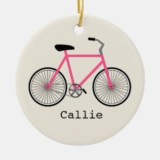 Ornamento personalizado bicicleta do rosa quente
