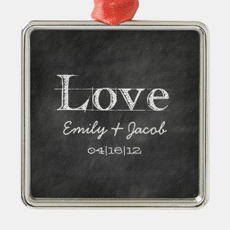 Ornamento personalizado do casamento do amor do qu