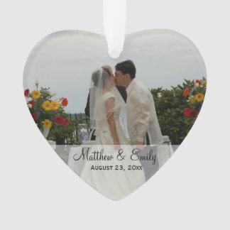 Ornamento personalizado do casamento ou da foto do
