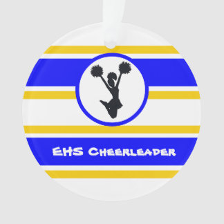 Ornamento personalizado do cheerleader do azul e