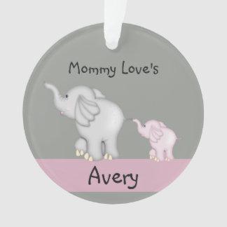 Ornamento personalizado do elefante das mamães e