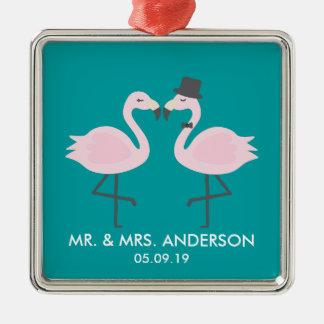 Ornamento personalizado do flamingo da cerceta