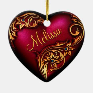Ornamento personalizado do rolo do coração ouro