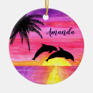 Ornamento personalizado dos golfinhos por do sol