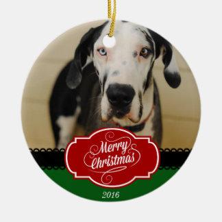 Ornamento personalizado Feliz Natal da foto do cão