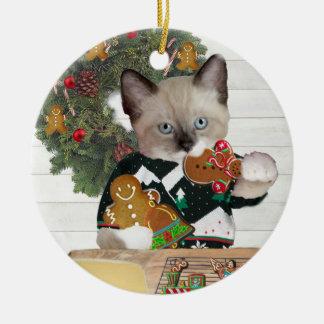 Ornamento personalizado gatinho do biscoito do