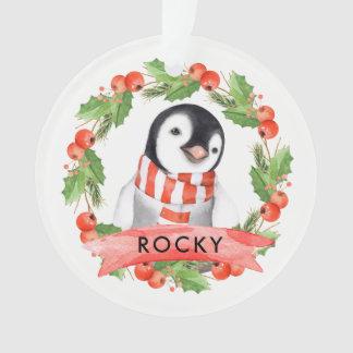 Ornamento personalizados do bebé do pinguim do