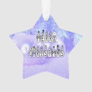 Ornamento Pessoas da pia batismal da neve do Feliz Natal,
