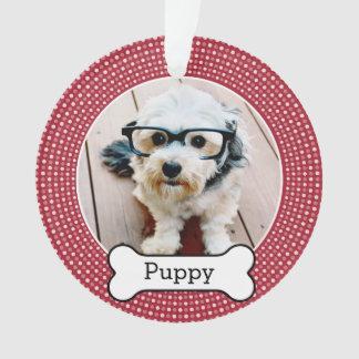 Ornamento Pet a foto com osso de cão - bolinhas vermelhas