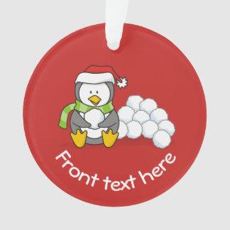 Ornamento Pinguim do Natal que senta-se com bolas da neve