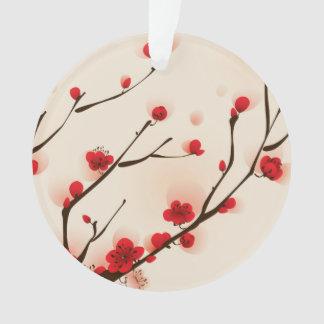 Ornamento Pintura asiática do estilo, flor da ameixa no