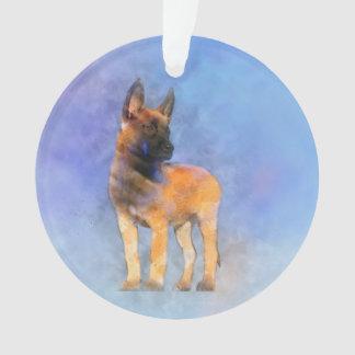 Ornamento Pintura do filhote de cachorro de Malinois do