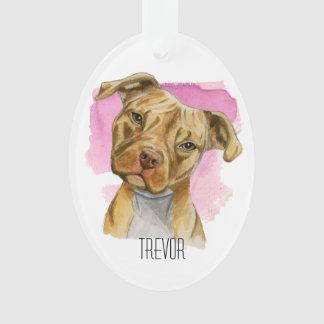 Ornamento Pintura principal da aguarela do cão do pitbull da